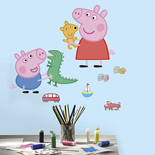 Peppa Pig Playtime GIANT Wand Aufkleber (8Stück) (Peppa The Pig Kostüm)