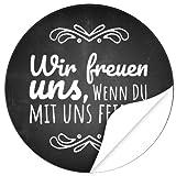48 Design Etiketten, rund/Wir freuen uns Motiv 2/Hochzeit/Taufe/Geburtstag/Konfirmation/Aufkleber/Sticker/Einladung