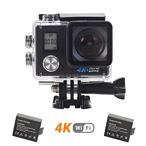 LMT W10 4K Action Cam Impermeabile WIFI 16MP Ultra HD Sport Action Camera con Dual Screen 170° Grandangolare due 1050mAh Batterie e Kit Accessori