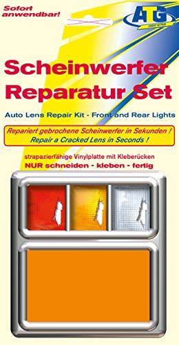 ATG Scheinwerfer Reparaturset PVC-Platte ORANGE: Passend für Scheinwerfer und Rückleuchten an Auto, Motorrad oder Wohnwagen. Notfallhilfe für unterwegs. Auch geeignet für Acryl- und Plexiglas. Die einfache und schnelle Scheinwerfer-Reparatur.