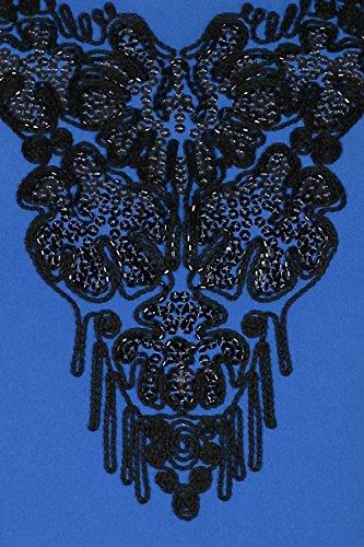 JU FASHION - Robe - Crayon - Uni - Manches Courtes - Femme bleu roi