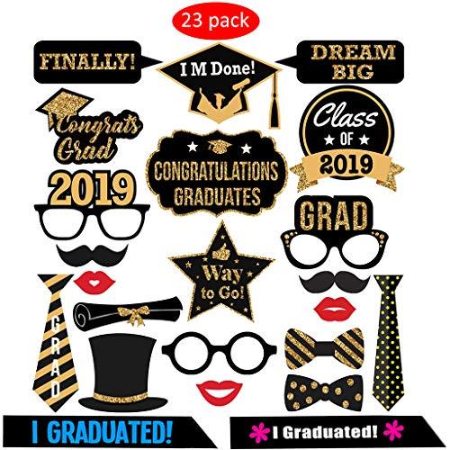 Amycute 23 teiliges Graduation Photo Booth Props Requisiten Kit Glitter Foto Requisiten für Abschluss Party Favors Supplies Dekorationen.