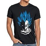 style3 Super Vegeta Blue God Mode T-Shirt Homme, Taille:L;Couleur:Noir