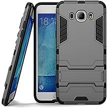 Custodia per Samsung Galaxy J7 (2016) - Cover protettiva di protezione antiurto con supporto stand [Tpu+PC] [Ulta Sottile] doppio strato hybrid hard case, anthracite grigio