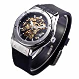 Bescita Winner Sport Design Mens Watches Top Brand Luxury Automatic Golden Skeleton - JARAGAR Belt Watch (Black)