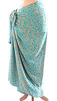 Extra Wide Gold on Turquoise Arabesque Batik Sarong/Wrap