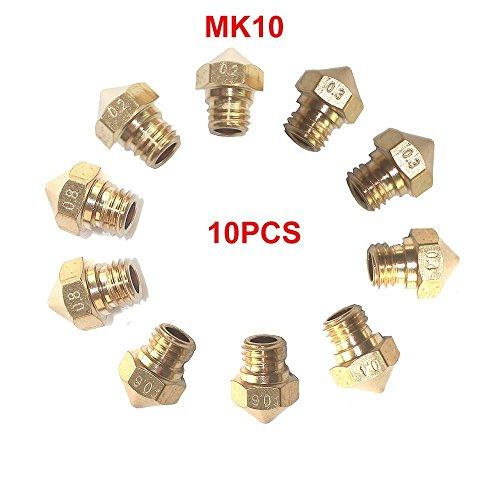 Tenlacum 10pcs MK10M7extrudeuse Buse pour imprimante 3d Wanhao Dupicator D4/i3/Dremel MakerBot 5tailles différentes 0,2mm, 0.3mm, 0.4mm, 0.6mm, 0.8mm (chaque taille 2pcs)
