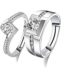 Moneekar Jewels Silver Metal Cubic Zirconia Adjustable Couple Rings for Lovers