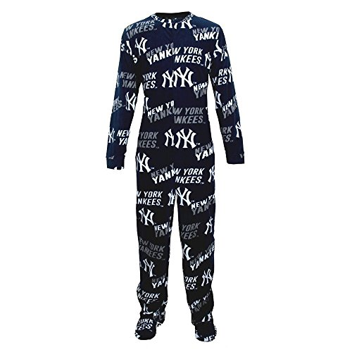 New York Yankees Fleece Mens Union Suit Pajamas (New Kostüme York Yankees)