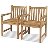 vidaXL Teak 2X Gartenstühle mit Armlehne Essstuhl Holzstuhl Gartensessel Stuhl