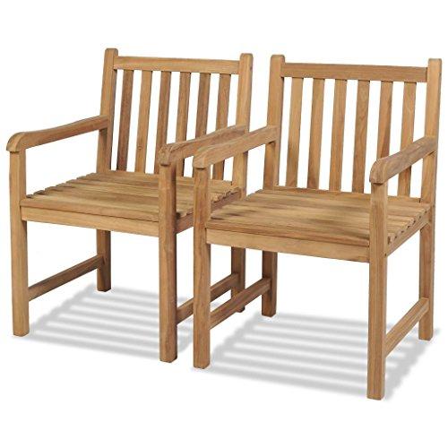 vidaXL Teak 2x Gartenstühle mit Armlehne Essstuhl Holzstuhl Gartensessel Stuhl (Teakholz-möbel)