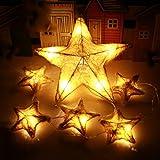 ✽ZEZKT-Home✽6 LED Star Led Lichterkette Aussen Fensterdeko Weihnachtsdeko Party Deko Lichterketten Netz Batteriebetrieben Lichtervorhang Zuhause Weihnachten Festival Leuchtioden (Gelb)