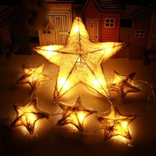 (✽ZEZKT-Home✽6 LED Star Led Lichterkette Aussen Fensterdeko Weihnachtsdeko Party Deko Lichterketten Netz Batteriebetrieben Lichtervorhang Zuhause Weihnachten Festival Leuchtioden (Gelb))
