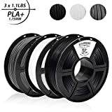 PLA+ 3D Printer Filament,0.5KG*3 Spools(3.3lbs),Dimensional Accuracy 1.75mm+/-0.02mm,Filament 3D Printing Materials,Suit for most 3D Printer/3D pen,Enotepad Black+White+Grey PLA+