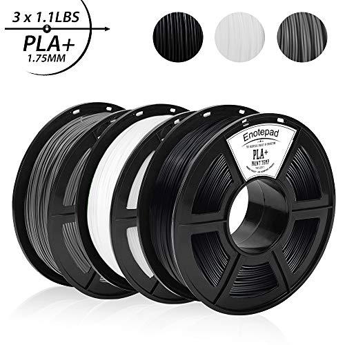 PLA+ 3D Printer Filament,0.5KG*3 Spools(3.3lbs),Dimensional Accuracy 1.75mm+/-0.02mm,Filament 3D Printing Materials,Suit for most 3D Printer/3D pen,Enotepad Black+White+Grey PLA+