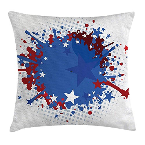 VTXWL Abstract Throw Pillow Cushion Cover, Messy Design Paint Splash Effect with Stars and Half Tone Dots Background, Decorative Square Accent Pillow Case, 18 X 18 inches, Blue Ruby and White (Paint Cat-body Halloween)