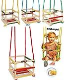 alles-meine.de GmbH 1 Stück _ Kinderschaukel / Schaukel aus Holz - incl. Name - Gitterschaukel - mitwachsend & verstellbar - leichter Einstieg ! - Babyschaukel - Kleinkindschaukel verstellbar - Holzgitterschaukel für Innen und Außen - mit Sicherheitsstäben / bunte Stäbe - Holzbabyschaukel - Holzschaukel Baby Kinder