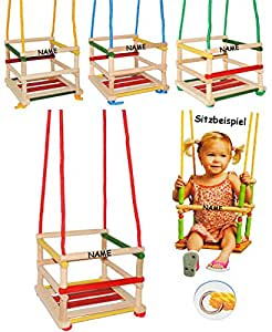 Unbekannt 1 Stück _ Kinderschaukel / Schaukel aus Holz - incl. Name - Gitterschaukel - mitwachsend & verstellbar - Leichter Einstieg ! - Babyschaukel - Kleinkindschauke..