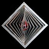 Edelstahl-Windspiel Quadrat hochkant Höhe -12cm x Breite -12cm mit Glaskugel Ø-35mm (rot) Für den Garten und als Fensterschmuck
