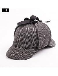 Inglaterra Unisex Sombrero Sherlock Holmes Deerstalker Detective, Sombrero Gird / Herringbone de Trago, Sombreros de Novia Fancy Dress (Medio)