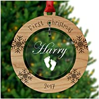 PERSONALISED Baby's First Christmas Bauble - Tree Decoration Wooden Ornament - Custom Babies 1st Xmas Keepsake - Cherry Veneer and Acrylic Christmas Tree Ornament - Keepsake Christmas Gifts Presents