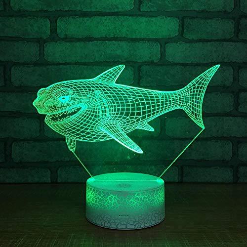 Zcmzcm 3D Nachtlichter Nette Nachtlicht-Tierlampe Des Haifisch-Fisch-3D Nachttischlampe Led Usb-Baby-Schlafen-Stimmungslampe Scherzt Geschenk