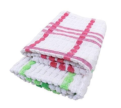 2x de luxe Taille L 100% coton épais doux Thé Serviettes Kensington Carreaux Rouge Vert Blanc 67x 67x 45cm–66x 45,7cm