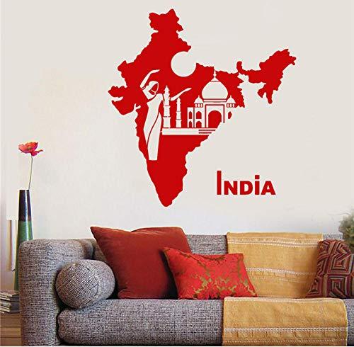 Vinyl Wandtattoo Indien Karte Land Hindu Tänzerin Taj Mahal Wandaufkleber Zitat Kunst Dekor Wandbild Poster 58x61cm (Restaurant Dekor Land)