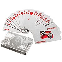 Fancybox 24K USA Dollar Silver Foil Poker Playing Cards Games Poker (silver)