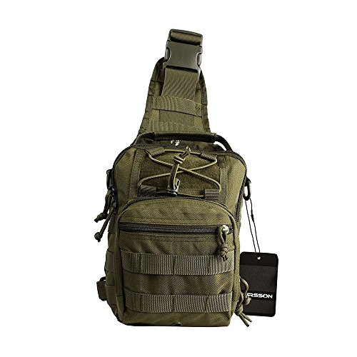Airsson Military Shoulder Sling Chest Bag Pack Tactical Bagpack Molle Large Daypack for Outdoor Travel Camping Hiking Trekking 1000D Olive Drab