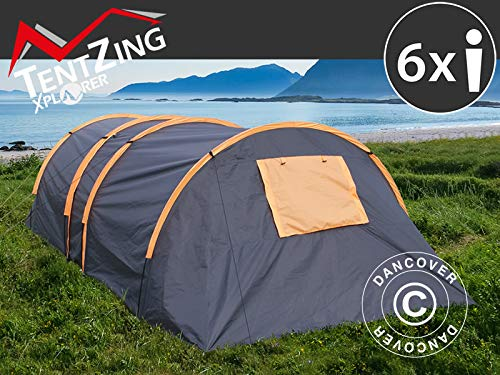 Dancover Campingzelt, TentZing® Tunnel, 6 Personen, orange/dunkelgrau