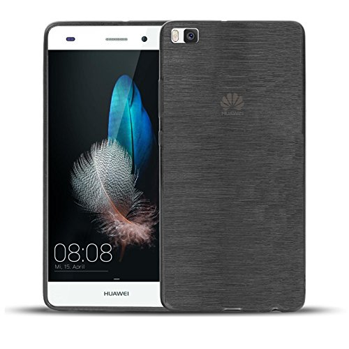 """Huawei P8 Hülle - Silikonhülle für P8 Huawei Schutzhülle Handy Case Rückseite Cover im gebürstetem Design """"Metallic Look"""" Tasche in Anthrazit"""