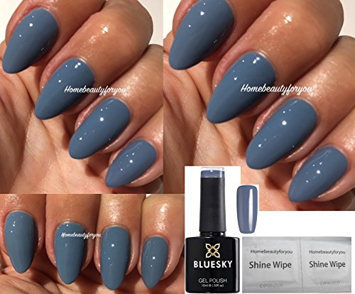 Bluesky 63927 Gel-Nagellack, Soak-Off-Lack, Aushärten unter LED-/UV-Licht, Farbe: Autumn Winter Blue Grey (Blaugrau), inkl. 2 x Glanz-Tücher von LuvliNail