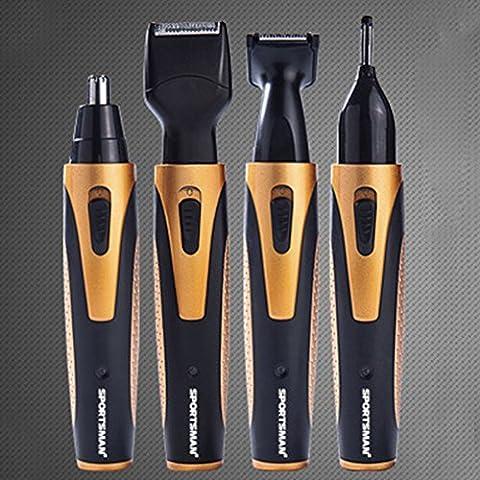 blackhumor 4in 1Face Shaving Fellpflege-Set, wasserdicht wiederaufladbare 360Grad Nase Ohrenhaartrimmer,