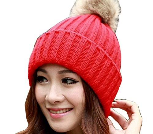 Viskey Women's Cotton Warm Beanie Cap, rosso  - 1-red, Taglia unica
