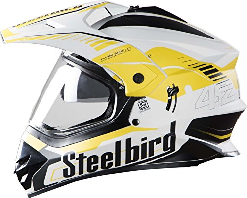 STEELBIRD SB-42 AIRBORNE MOTOCROSS HELMET GLOSSY FINISH WITH PLAIN VISOR (LARGE 600 MM, GLOSSY WHITE WITH YELLOW)