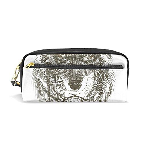 Ahomy Estuche atrapasueños lobo grande condensado estudiante bolígrafo bolso cartera cosmético bolsa de maquillaje para las mujeres