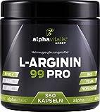 L-Arginin 99 PRO - vegan - 99% Wirkstoff - 360 Kapseln in Premiumqualität - allergikergeeignet - L-Arginin Base EINWEG