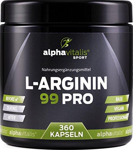 L-Arginin 99 PRO - L-Arginin Base vegan ohne Magnesiumstearat - 99{b315b8125ca09ce1b5f8930c31bc696f582c907232ae4a2ea33a3a79cf890f7c} Wirkstoff - 360 Kapseln in deutscher Premiumqualität