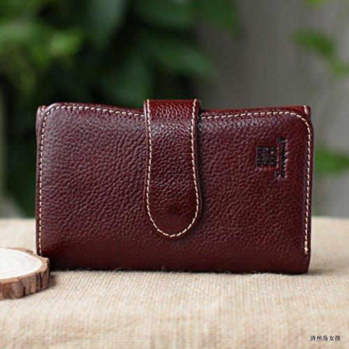 Handgefertigte Leder, Leder Geldbörse, Brieftasche, Tasche, Retro lange Mann, Damen Portemonnaie, Braun Dark brown