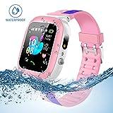 Jaybest Kinder Smartwatch Telefon Uhr,wasserdichte Kid Smart Watch für Jungen Mädchen mit LBS Tracker SOS Anruf Kamera Anti-Lost Voice Chat(Pink-Blue)