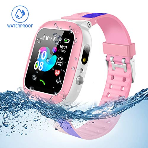 Enfants Smartwatch imperméable avec GPS / LBS Tracker jeu de téléphone montres SOS Appelez 3-12 pour les cadeaux d'anniversaire de Noël filles et garçons avec caméra Voice Chat