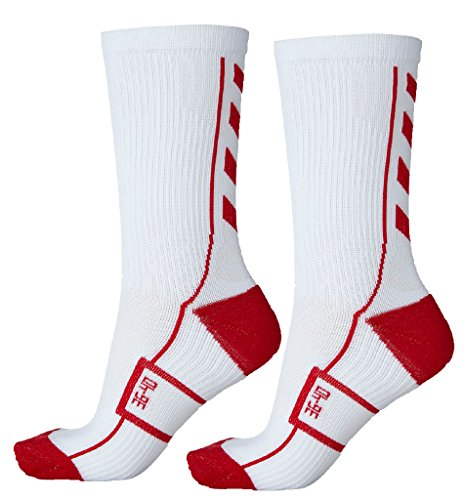 Hummel Socken Tech Indoor Sport Sock Low 2 Paar (weiß/rot (9402), 41 - 45 (Size 12))
