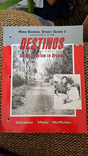 Destinos Grades 9-12 Alternate Edition High School Study Guide Part 1: Mcdougal Littell Destinos
