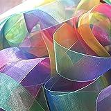 ULTNICE 50yd durchsichtiges Gewebe Materialrolle Organza Verpackung 25MM Rainbow bunte Organza Stoff Folienrolle