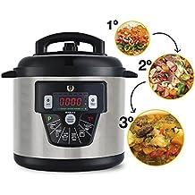 Olla programable GM Modelo E. Robot de cocina programable multifunción que cocina por ti. Funciona con o sin presión de hasta 90Kpa en 3 niveles, 10 menús, temperatura hasta 180ºC, capacidad de hasta 6 litros.