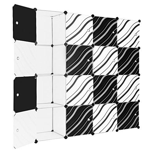 Finether-Armario Modular de 16 Cubos(Sistema de Almacenamiento, Escaparate de Estantes con Puertas de Rayas para el Hogar, Ropa, Zapatos, Juguetes,