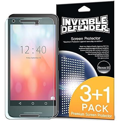 Protector de pantalla Nexus 5X 2015 - Defender Invisible [3 + 1 Pack / MAX HD CLARIDAD] Garantía de por vida Perfecto Toque de precisión de alta definición (HD) Claridad de Cine (4pack) para Google Nexus 5/ 5X 2nd Gen 2015 (No para Nexus 5 2013)