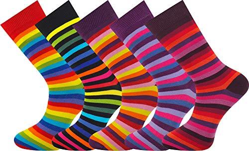 MySocks® 5 Paar Herren Socken Streifen Extra feine gekämmte Baumwolle Größe 40-45 -