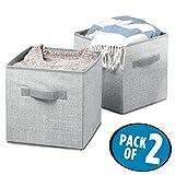 mDesign set di 2 storage box in tessuto – cestino portaoggetti con maniglie – ideale come organizer armadio o come portagiochi – dimensioni: 26,67 cm x 26,67 cm x 27,94 cm